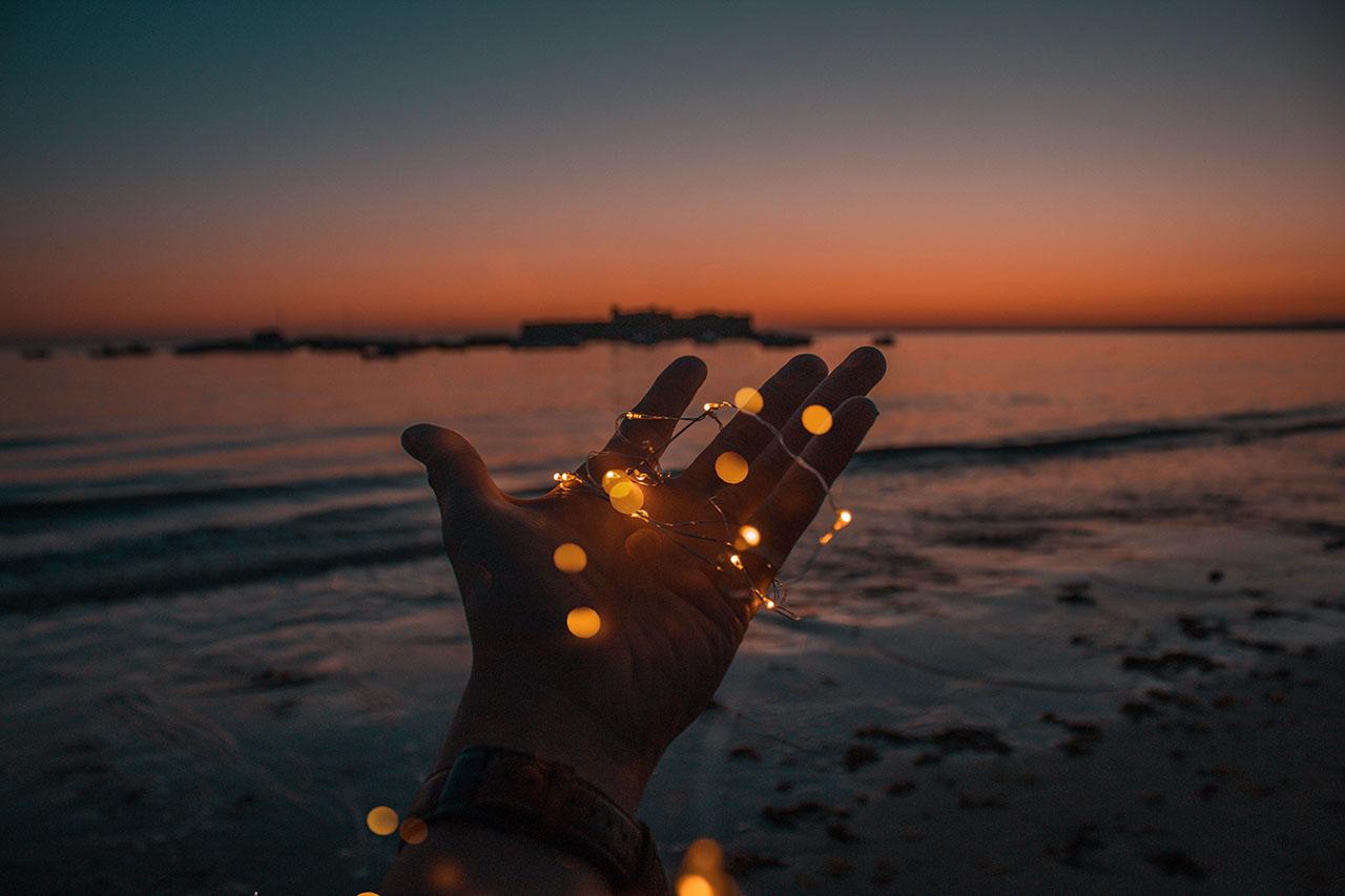 Sea and hand